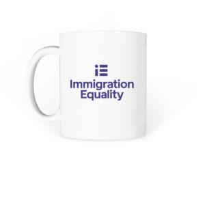"White coffee mug with ""Immigration Equality"" printed on the side"